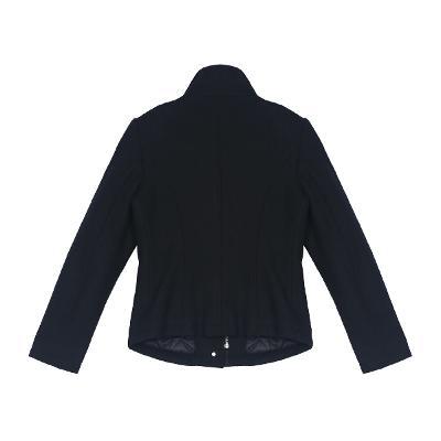 high neck pocket jacket black